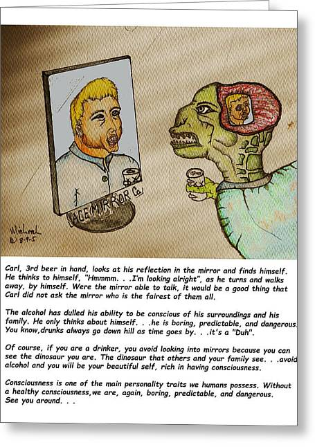 Beer Drinker In The Mirror Greeting Card by Michael Shone SR