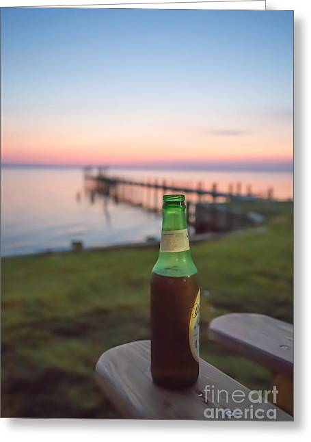 Beer In The Sunset In Obx Greeting Card