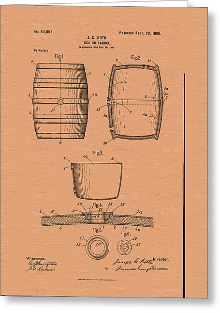 Beer Keg Patent - 1898 Greeting Card by Mountain Dreams