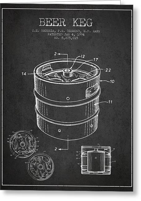 Beer Keg Patent Drawing - Dark Greeting Card by Aged Pixel