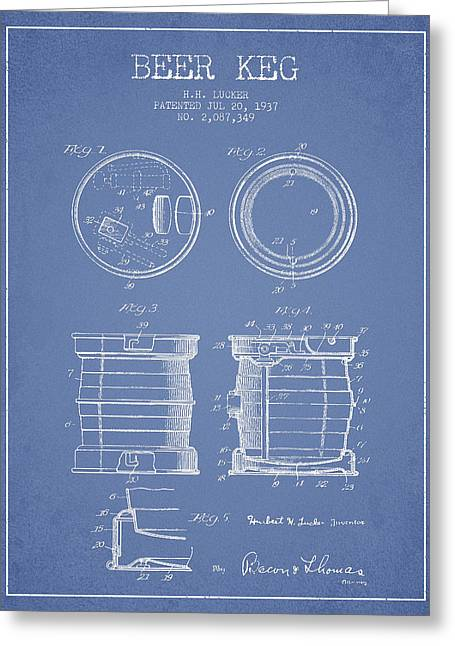 Beer Keg Patent Drawing From 1937 - Light Blue Greeting Card by Aged Pixel
