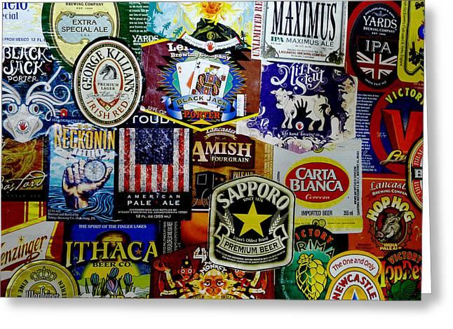 Beer Labels Greeting Card by Richard Reeve