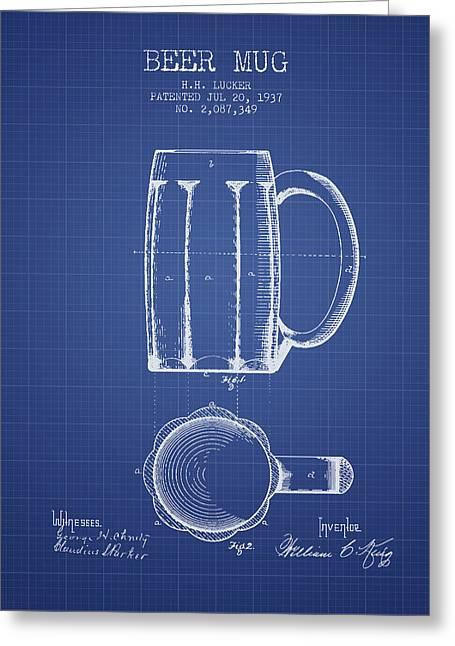 Beer Mug Patent 1876 - Blueprint Greeting Card