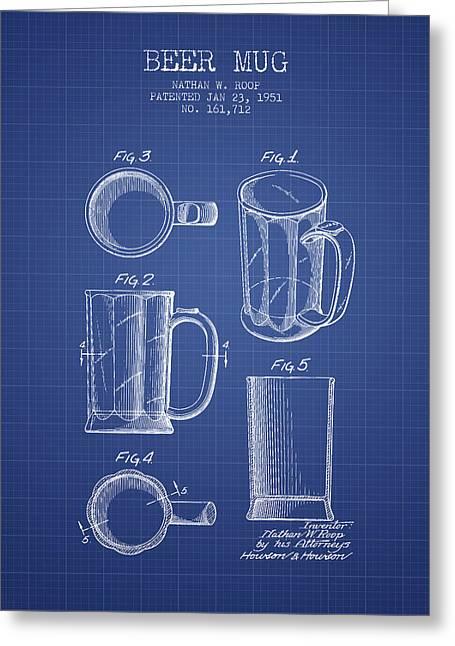 Beer Mug Patent 1951 - Blueprint Greeting Card