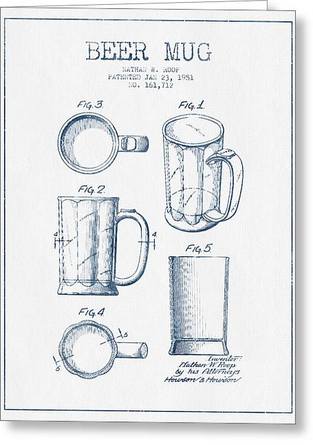 Beer Mug Patent Drawing From 1951 -  Blue Ink Greeting Card by Aged Pixel