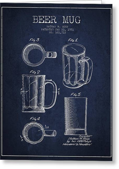 Beer Mug Patent Drawing From 1951 - Navy Blue Greeting Card by Aged Pixel