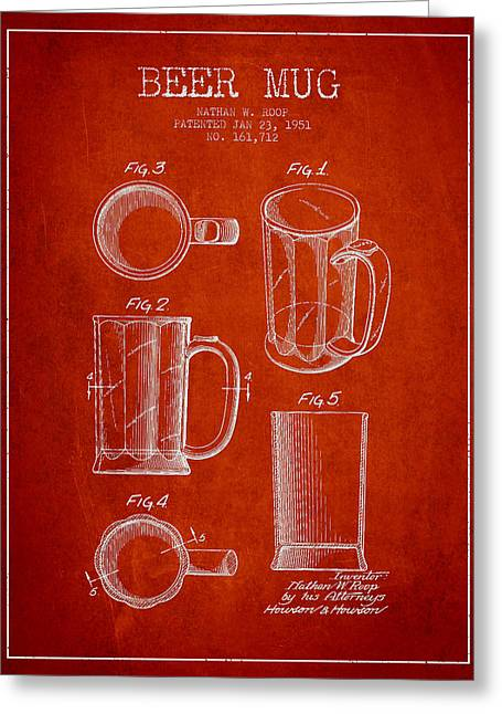 Beer Mug Patent Drawing From 1951 - Red Greeting Card by Aged Pixel