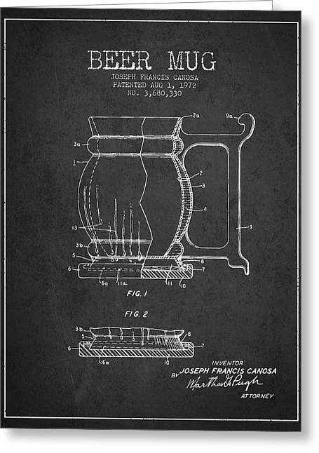 Beer Mug Patent Drawing From 1972 - Dark Greeting Card by Aged Pixel