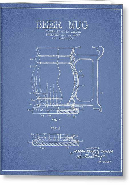 Beer Mug Patent Drawing From 1972 - Light Blue Greeting Card by Aged Pixel