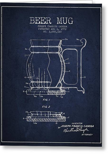Beer Mug Patent Drawing From 1972 - Navy Blue Greeting Card by Aged Pixel
