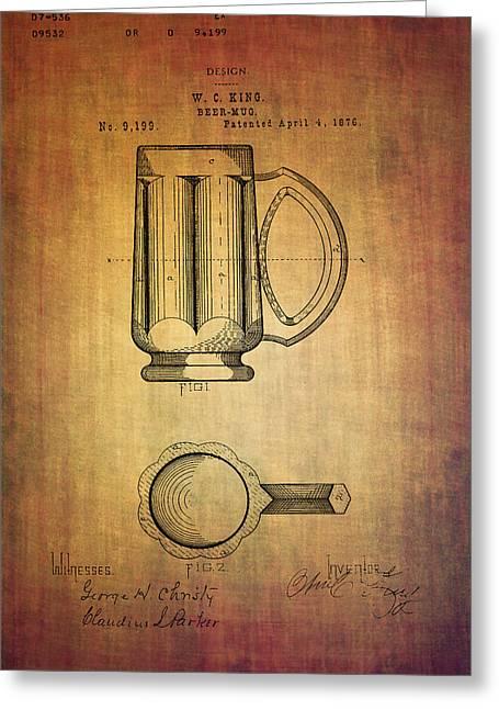 Beer Mug Patent W.c.king From 1876 Greeting Card by Eti Reid