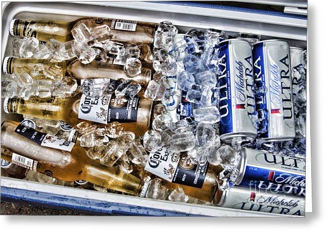 Beer On Ice Greeting Card by Jayne Carney