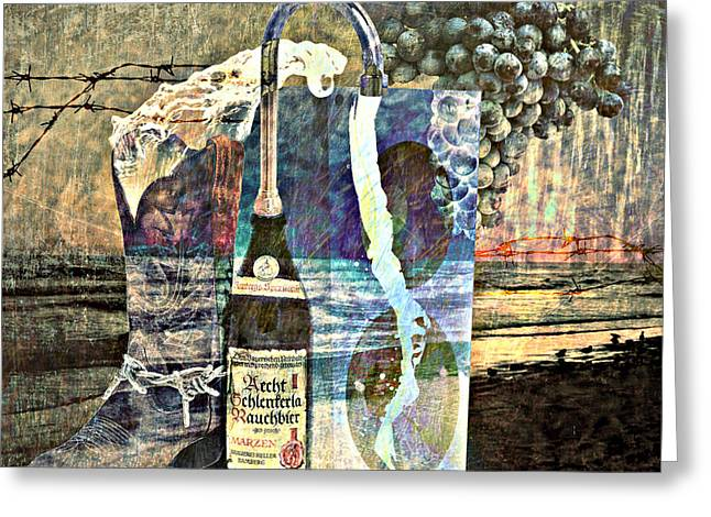 Greeting Card featuring the mixed media Beer On Tap by Ally  White