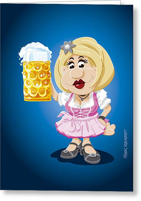 Beer Stein Dirndl Oktoberfest Cartoon Woman Greeting Card by Frank Ramspott