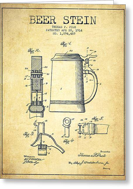 Beer Stein Patent From 1914 -vintage Greeting Card