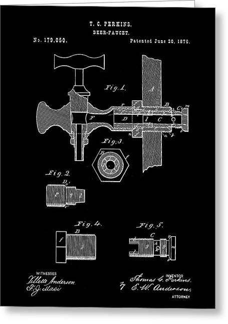 Beer Tap Patent 1876 - Black Greeting Card by Stephen Younts