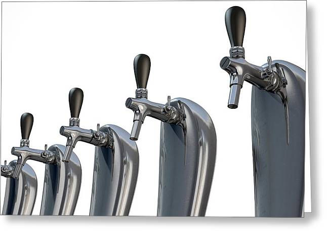 Beer Tap Row Isolated Greeting Card by Allan Swart