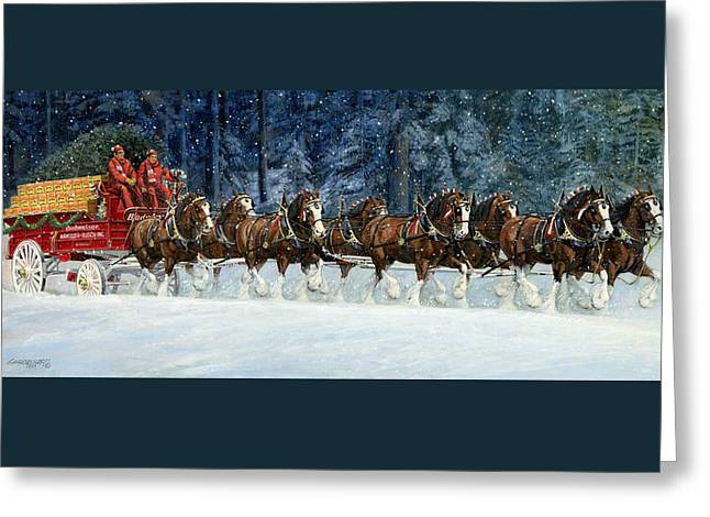 Clydesdales 8 Hitch On A Snowy Day Greeting Card by Don  Langeneckert