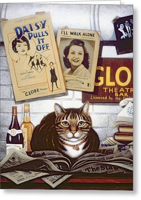 Beerbohm, The Theatre Cat Oil & Tempera On Panel Greeting Card