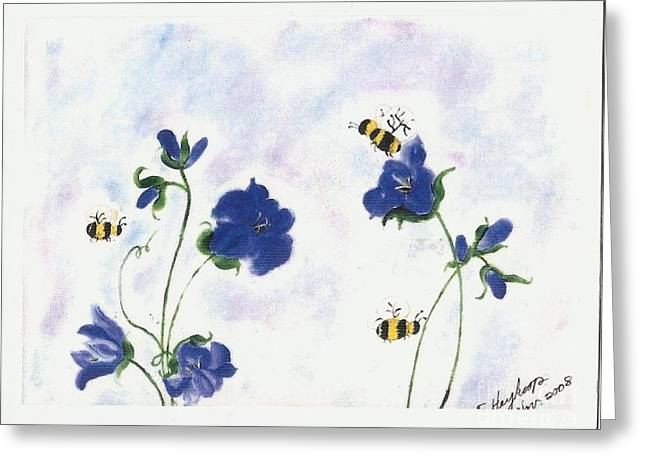 Bees At Lunch Time Greeting Card