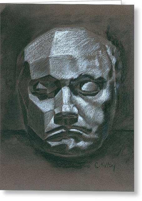 Beethoven Death Mask Greeting Card by Claudia Kilby