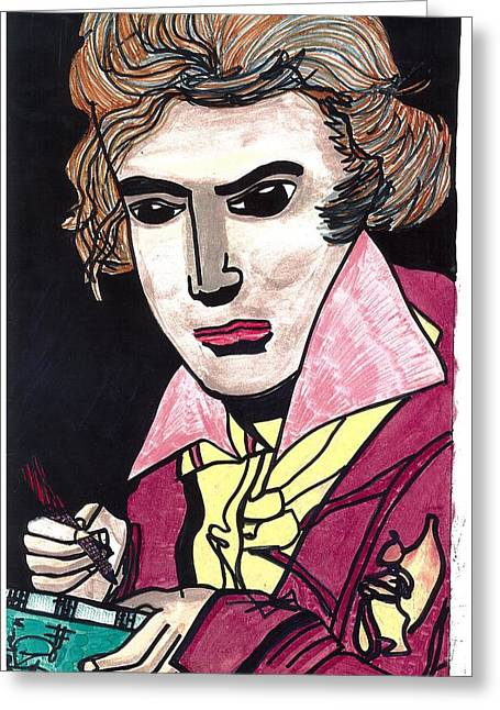 Greeting Card featuring the drawing Beethoven by Don Koester