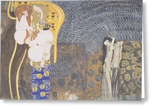 Beethoven Frieze Greeting Card by Gustav Klimt