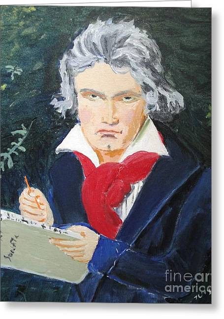Greeting Card featuring the painting Beethoven by Judy Kay