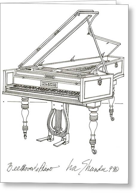 Beethoven's Broadwood Grand  Piano Greeting Card