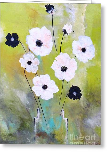 Greeting Card featuring the painting Beetle Flowers by France Laliberte