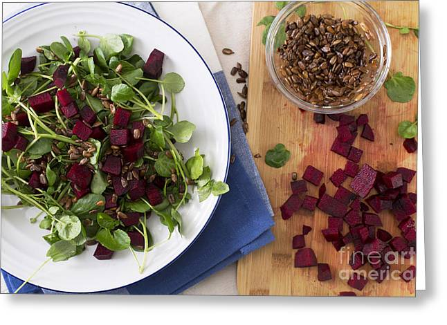 Beetroot Watercress Salad Greeting Card