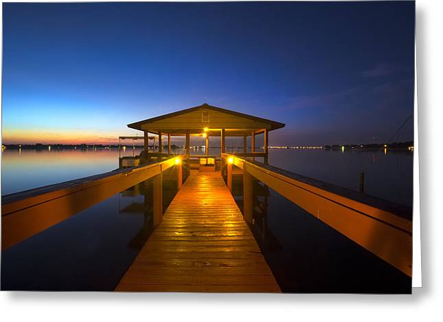 Before Dawn At The Dock Greeting Card by Debra and Dave Vanderlaan