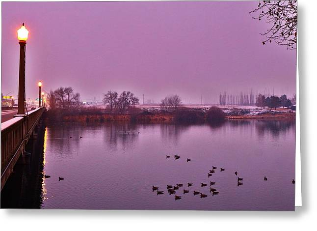 Greeting Card featuring the photograph Before Sunrise On The Bridge by Lynn Hopwood