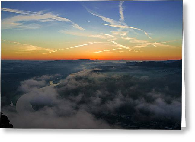 Before Sunrise On The Lilienstein Greeting Card