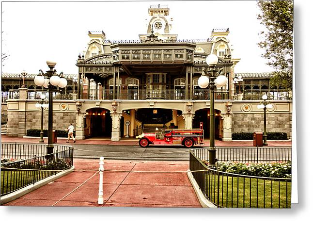 Before The Gates Open The Magic Kingdom Train Station Greeting Card by Thomas Woolworth