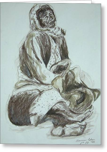 Beggar In The Ghetto Greeting Card by Esther Newman-Cohen