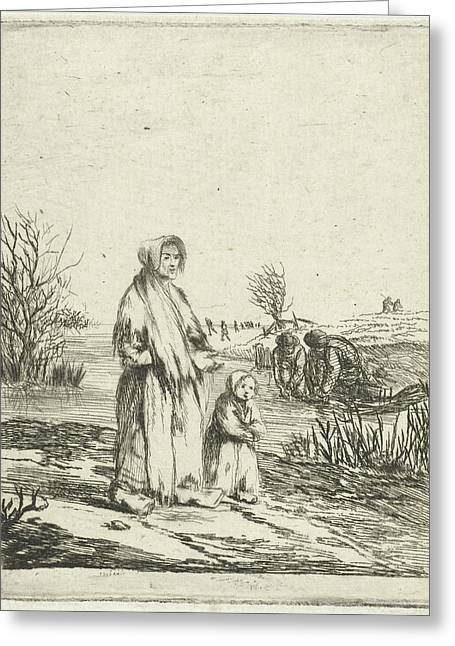 Beggar Star With Child In A Ditch, Louis Bernard Coclers Greeting Card