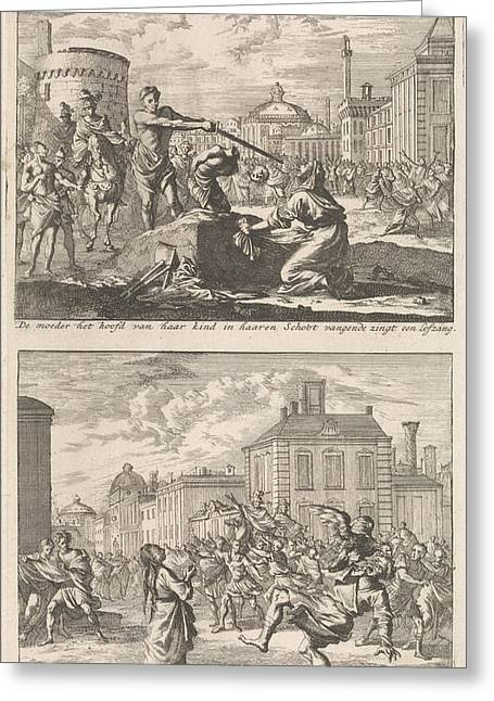 Beheading Of A Christian In Rome And Saint Agnes Who Greeting Card by Jan Luyken And Barent Visscher And Jacobus Van Hardenberg