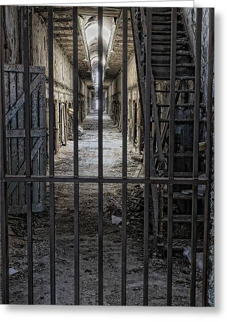 Behind Bars Greeting Card by Don Schroder