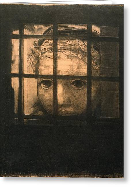 Behind Bars Greeting Card by Odilon Redon
