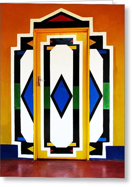 Behind Coloured Doors Greeting Card by Tina Pitsiavas