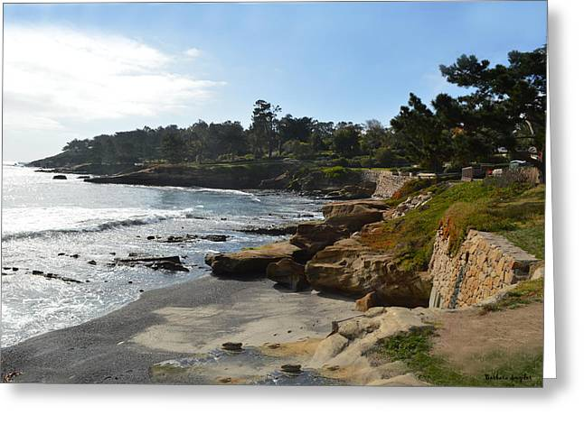 Behind The 18th At Pebble Beach Greeting Card by Barbara Snyder
