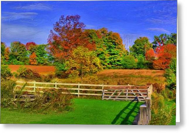 Behind The Barn Greeting Card by Dennis Lundell