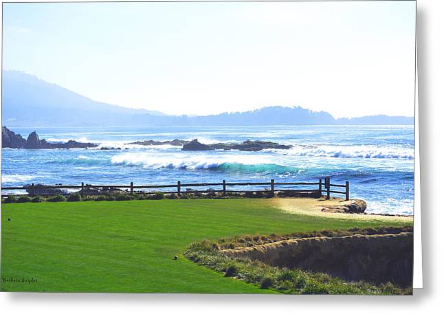 Behind The Blues On 18 At Pebble Greeting Card by Barbara Snyder