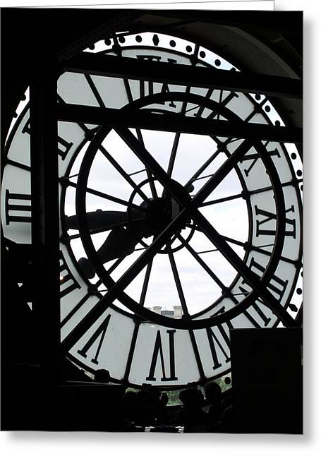 Behind The Clock II Greeting Card