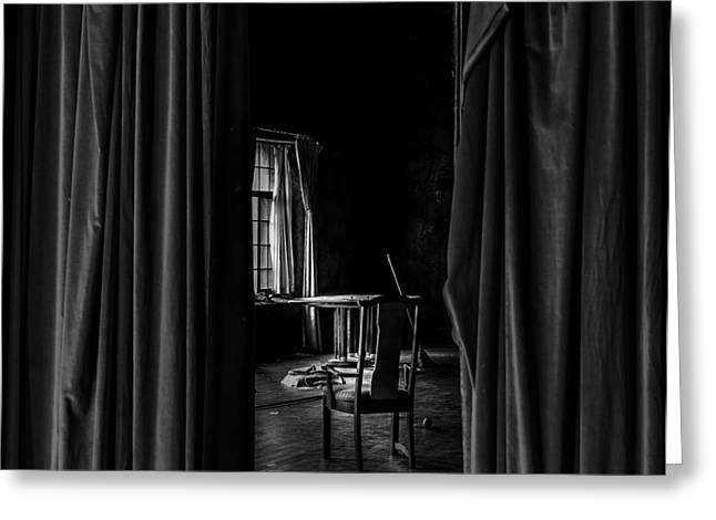 Behind The Curtain Greeting Card by David Mcchesney
