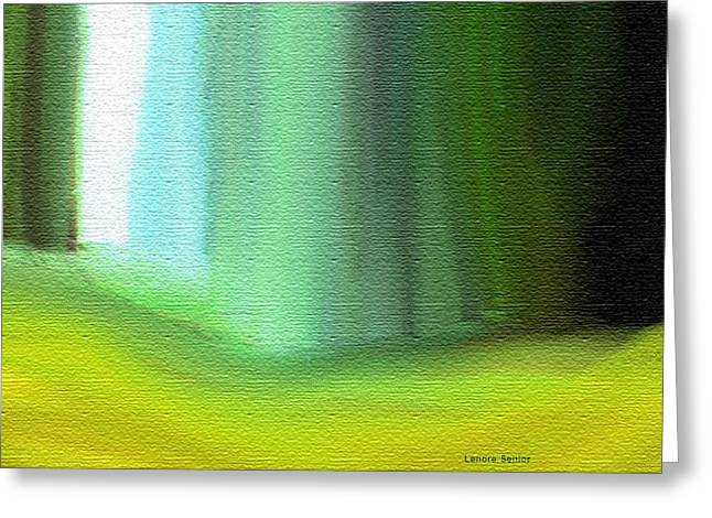 Behind The Curtain Greeting Card by Lenore Senior