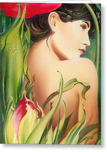 Greeting Card featuring the painting Behind The Curtain Of Colours -the Tulip by Anna Ewa Miarczynska