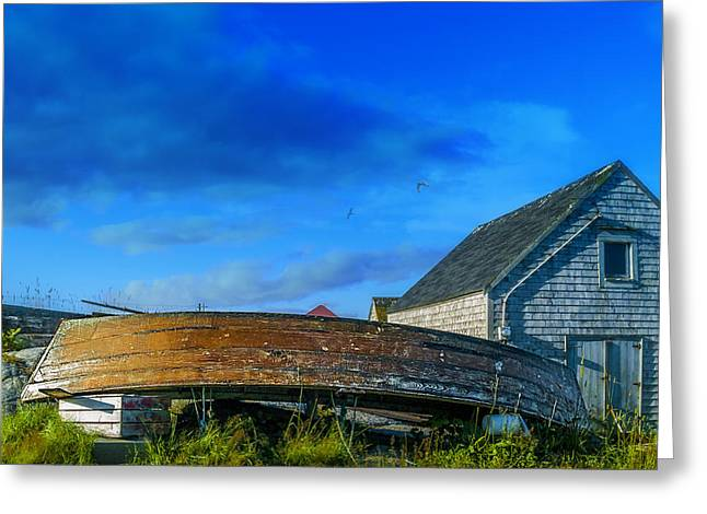 Behind The Fishing Shed Greeting Card by Ken Morris