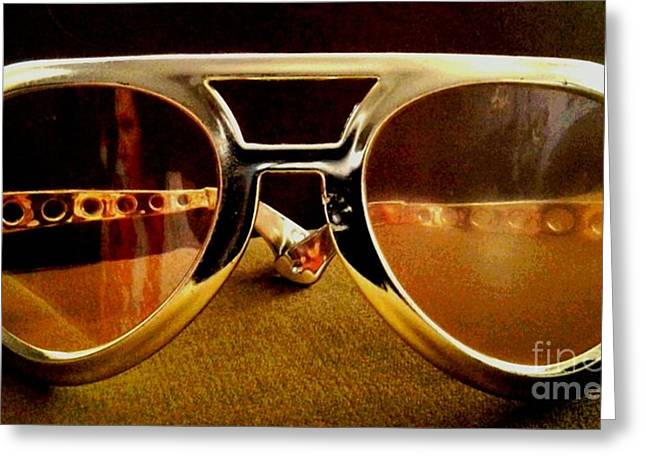 Behind The Glasses Greeting Card by Dean Edwards